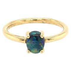 Australian 0.87ct Black Opal Ring in 18k Yellow Gold