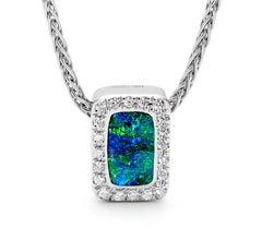 Australian 0.97ct Boulder Opal and Diamonds Pendant in 18K White Gold