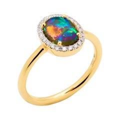 Australian 1.29ct Black Opal Ring in 18k Yellow Gold