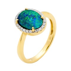 Australian 2.36ct Black Opal Cocktail Ring in 18K Yellow Gold