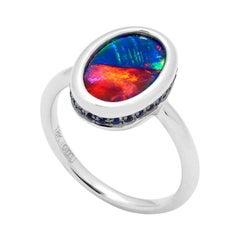 Australian 2.83ct Black Opal Ring in 18k White Gold