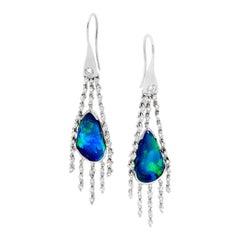 Australian 5.25ct Black Opals and Diamond Dangle Earrings in 18k White Gold