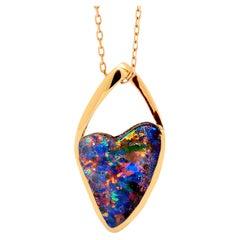Australian 6.87ct Boulder Opal Pendant in 18K Rose Gold