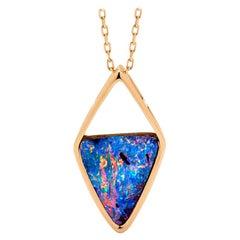 Australian 6.88ct Boulder Opal Pendant in 18k Rose Gold