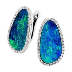 Australian 7.73ct Opal Doublet Earrings in 18k White Gold