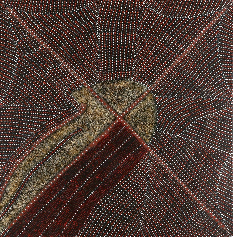 A stunning contemporary aboriginal painting by Kathleen Petyarre (1940-2018). The painting was from 2010. It is framed and comes with a copy of gallery provenance. One of her most iconic subject of the artist,