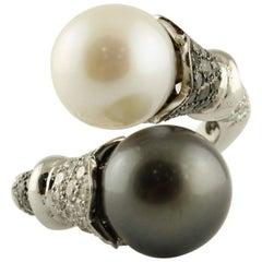 Australian and Tahiti Pearls Diamonds White Gold Ring