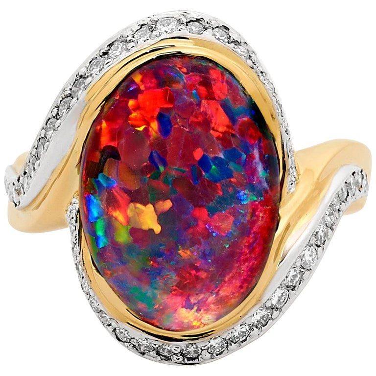 Australian Black Opal and Diamond Cocktail Ring in 18 Karat Gold For Sale