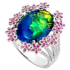 Australian Black Opal and Diamond Cocktail Ring in 18 Karat Gold with Sapphires
