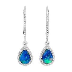 Australian 0.77ct Black Opal and Diamonds Dangle Earrings 18K White Gold