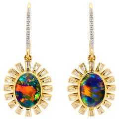 Australian Black Opal and Diamond Earrings in 18 Karat Yellow Gold