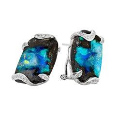 Australian 25.89ct Boulder Matrix Opals and Diamond Earrings in 18K White Gold