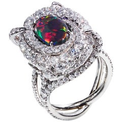 Australian Black Opal and Diamond Pave Ring