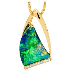 Australian Black Opal and Diamond Pendant in 18 Karat Yellow Gold