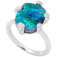 Australian Black Opal and Diamond Ring in 18 Karat White Gold