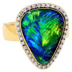 Australian Black Opal and Diamond Ring in 18 Karat Yellow Gold