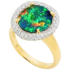 Australian 4.34ct Black Opal and Diamond Engagement Ring in 18K Yellow Gold
