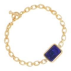 Australian Black Opal Bracelet on Handmade 18k Matte Gold Chain