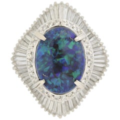 Australian Black Opal Diamond Platinum Cocktail Ring