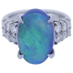 Australian Black Opal Diamond Platinum Ring
