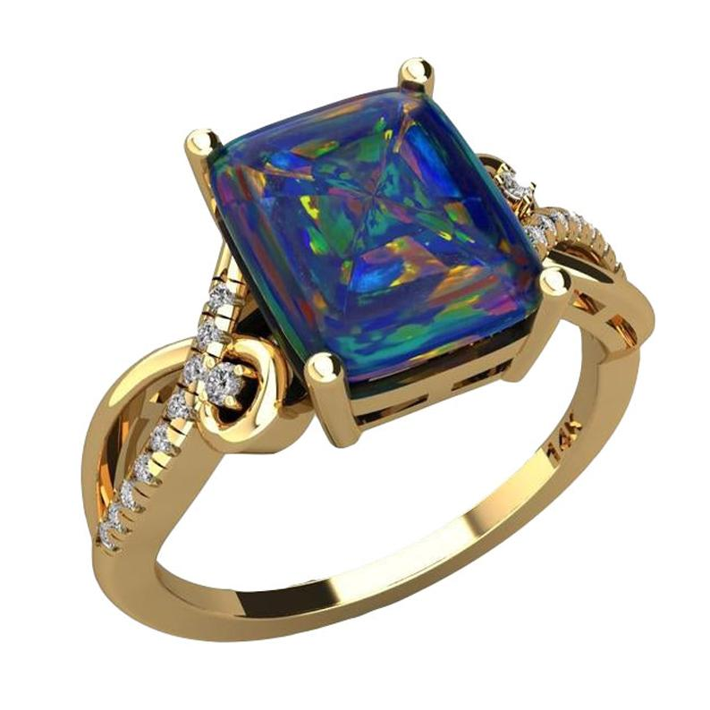 Australian Black Opal Diamond Ring 14 Karat Yellow Gold