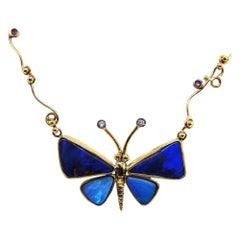 Australian Black Opal Diamond & Sapphire Butterfly Unique Handmade Gold Necklace