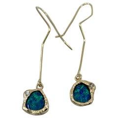 Australian Black Opal Doublet and Diamond Wire Earrings in 18 Karat Yellow Gold