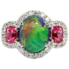 Australian Black Opal, Jedi Spinel and Diamond Ring