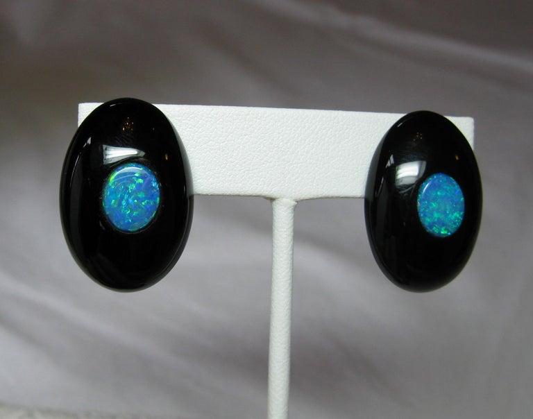 Australian Black Opal Onyx Earrings Pendant Made for Jessye Norman Opera Legend For Sale 6