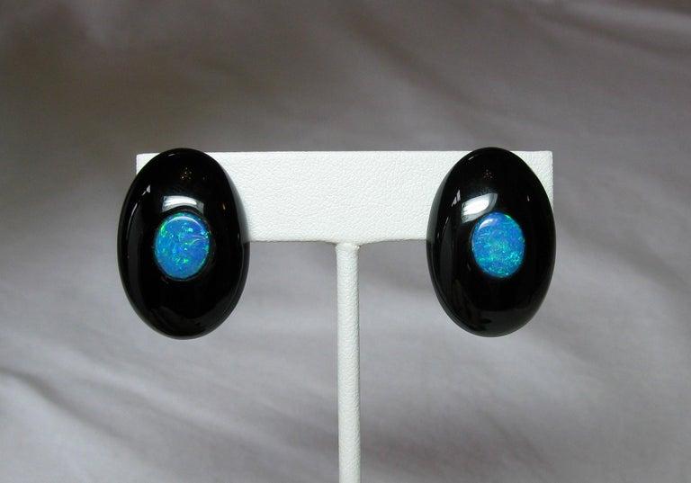 Australian Black Opal Onyx Earrings Pendant Made for Jessye Norman Opera Legend For Sale 7