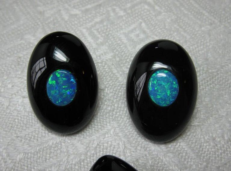 Australian Black Opal Onyx Earrings Pendant Made for Jessye Norman Opera Legend For Sale 3