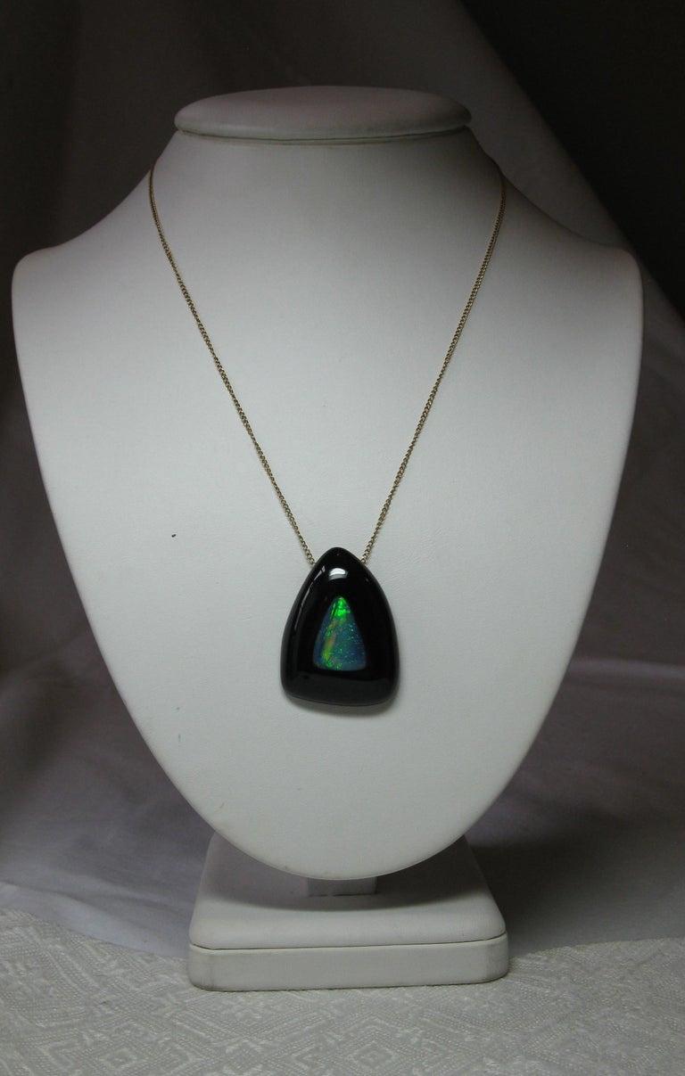 Australian Black Opal Onyx Earrings Pendant Made for Jessye Norman Opera Legend For Sale 4