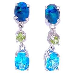 Australian Black Opal, Peridot and Blue Topaz Dangle Earrings