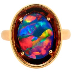 Australian Black Opal Ring in 18 Karat Rose Gold