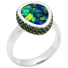 Australian Black Opal Ring in 18 Karat White Gold with Garnets