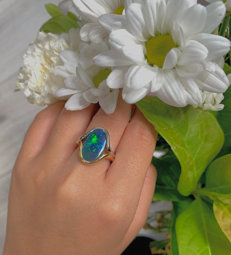 Cabochon Australian Black Opal Ring in 18 Karat Yellow and White Gold For Sale