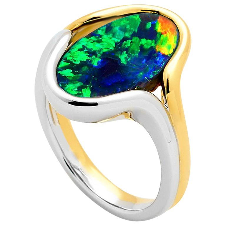 Australian Black Opal Ring in 18 Karat Yellow and White Gold For Sale
