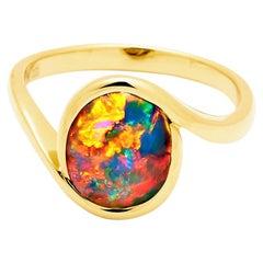 Australian Black Opal Ring in 18 Karat Yellow Gold