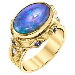 Australian Black Opal, Sapphire and Diamond 18 Karat Yellow Gold Ring