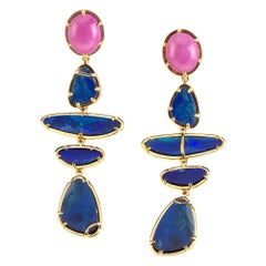Australian Blue Fire Opal Star Ruby Gold Earrings