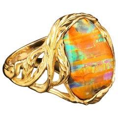 Australian Boulder Opal 14K Yellow Gold Ring Unisex Art Nouveau Style Jewelry