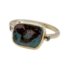 Australian Boulder Opal and Blue Diamonds Set in 14 Karat Gold Ring