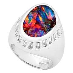 Australian 11.04ct Boulder Opal, Diamond Cocktail Ring 18K White Gold