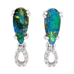 Australian 1.49ct Boulder Opal and Diamonds Stud Earrings in 18K White Gold