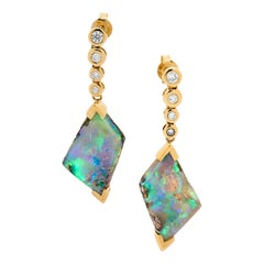 Australian 12.46ct Boulder Opal and Diamond Dangle Earrings 18K Yellow Gold