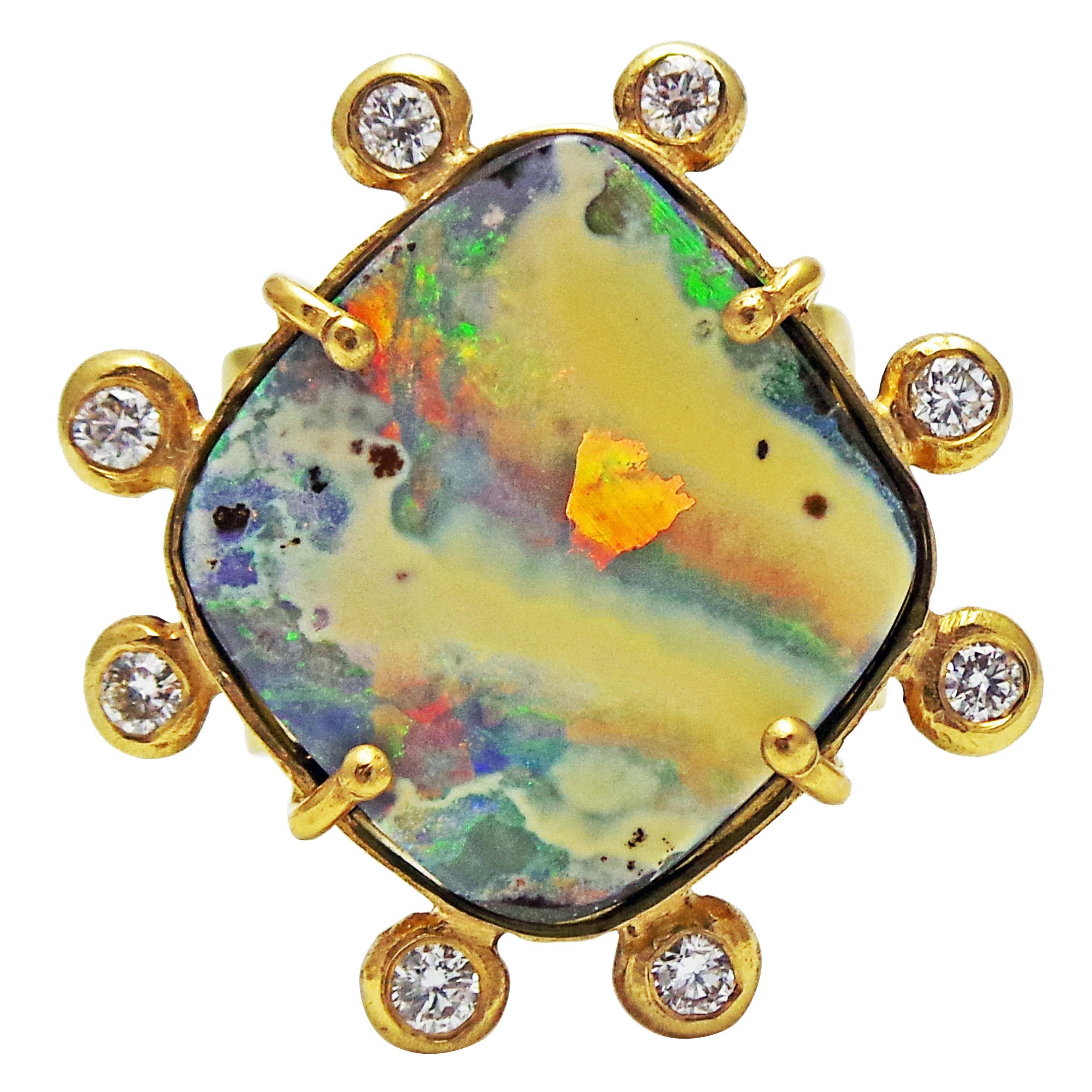 Australian Boulder Opal and Diamond Halo 18k Gold Ring