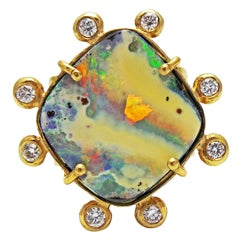 Australian Boulder Opal and Diamond Halo 18k Gold Ring