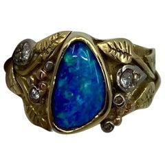 Australian Boulder Opal and Diamond Handmade Mixed Gold Autumn Art Nouveau Ring