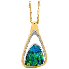 Australian Boulder Opal and Diamond Pendant in 18 Karat White and Yellow Gold