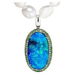 Australian Boulder Opal and Diamond Pendant in 18 Karat White Gold